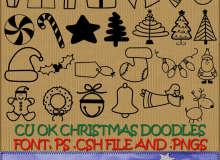 圣诞节礼物、装扮造型图案photoshop自定义形状素材 .csh 下载