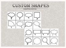 聊天气泡框、消息框、对话框图形photoshop自定义形状素材 .csh 下载