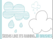 可爱手绘卡通云朵、云彩图案Photoshop笔刷下载