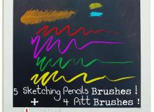 5种素描铅笔风格的Photoshop画笔素材免费下载