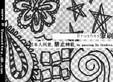 可爱幼稚的涂鸦花纹、五角星等图案Photoshop童趣笔刷素材