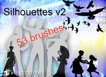 53种时尚动感人物造型、轮廓剪影图形Photoshop笔刷下载