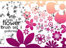 樱花、鲜花花朵图案Photoshop印花花纹笔刷素材下载