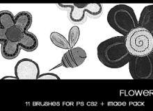 花朵图案、童趣花纹Photoshop笔刷下载