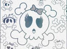 可爱粉嫩骷髅头图案PS骷髅头纹饰笔刷素材