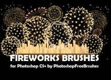 灿烂美丽的烟花、烟花图案Photoshop笔刷下载