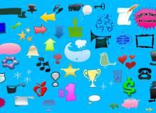 各种生活办公元素符号图案photoshop自定义形状素材 .csh 文件下载