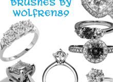 14种钻戒、宝石戒指、订婚戒指、结婚戒指Photoshop笔刷素材下载