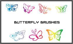 漂亮的蝴蝶印花剪影图像Photoshop笔刷下载