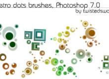 9种时尚潮流同心圆点、方块元素Photoshop笔刷素材
