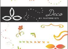 简单的圆点、叉叉、植物花纹等符号装饰图案PS笔刷下载