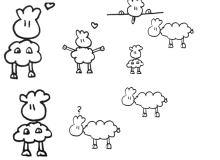 手绘涂鸦可爱绵羊图形Photoshop笔刷下载