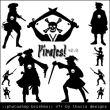 海盗剪影图形、加勒比海盗元素装扮PS笔刷素材下载