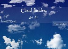 一套免费的高清云朵图形PS笔刷素材下载