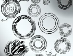 复古式机械圆圈造型素材PS笔刷下载