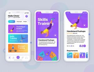 运动健身类 IOS App UI 模板素材 – Sketch模板免费下载