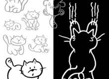 手绘线框卡通猫咪图案PS笔刷下载