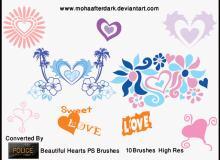美丽爱心、心形图案艺术花纹Photoshop笔刷下载