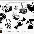 矢量风格的蛋糕、棒棒糖、糖果、纸杯蛋糕等图形Photoshop笔刷下载