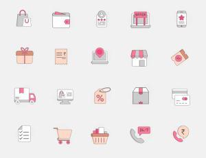 20+ 粉色系电子商务图标 –  Sketch 设计素材