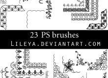 手绘花式花纹边框、边角图案装饰PS笔刷下载