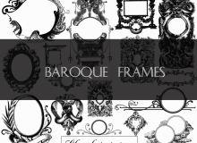 欧式复古式镜框、相框装饰图案Photoshop笔刷下载