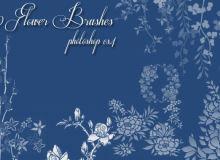 10种植物花纹图案、鲜花印花花纹PS笔刷下载