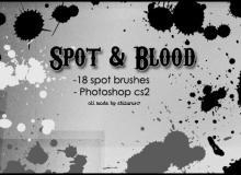 油漆、血液滴溅式斑点、斑纹纹理PS笔刷下载