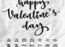 情人节英文标语PS涂鸦文字笔刷素材