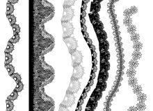 蕾丝边绣花、印花花纹图案PS笔刷下载