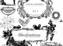 欧美复古式横幅效果背景素材PS笔刷下载