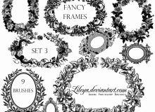 鲜花式框架图案、花圈、花环装饰花纹PS笔刷下载