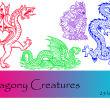 西方恶龙、魔龙、蛇龙PS印花图案笔刷下载