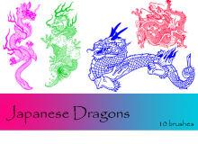 传统中国青龙、龙纹身、帝王龙PS笔刷下载