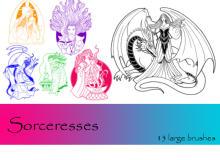 女王图案、西欧女巫造型PS笔刷下载