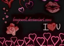浪漫爱心、心形、红唇、唇印图案PS笔刷素材下载