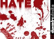 流血的血迹、血痕图案PS笔刷素材免费下载