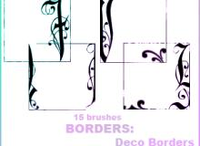 手绘细致艺术边框花纹图案PS笔刷素材下载