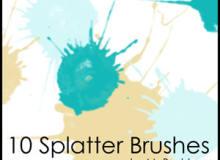 10种油漆水墨滴溅斑点纹理PS笔刷素材下载