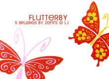 漂亮的5种卡通蝴蝶花纹图案PS笔刷下载
