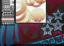 15种回型图案、齿轮机械风格的图案Illustrator笔刷/Ai画笔素材下载