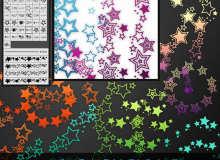 时尚行星、五角星图案Illustrator笔刷/Ai画笔素材下载