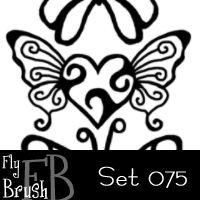 镂空式蝴蝶印花图案PS笔刷素材