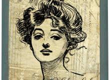 手绘女孩肖像图案PS笔刷素材下载