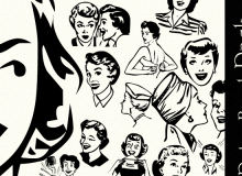 欧美女性肖像图案、剪贴画式女性图像PS笔刷下载