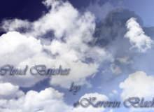 超清高空白色云朵、云层纹理PS笔刷素材下载