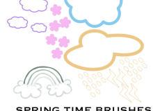 手绘涂鸦云朵、彩虹、下雨云PS笔刷下载