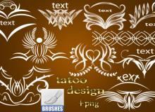 漂亮的纹饰、纹身式印花图案PS笔刷下载