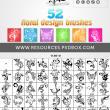 52种漂亮的艺术植物花纹图案PS笔刷素材