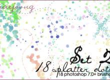 18种飞溅油漆效果PS笔刷素材